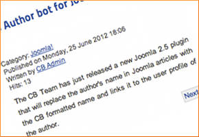 CB Author bot for Joomla 2.5 is back!