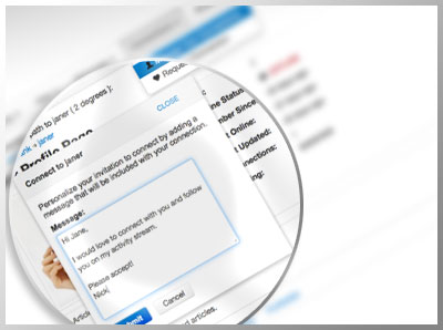 Users can connect to other users just by visiting their profile and requesting to connect with a personal message.