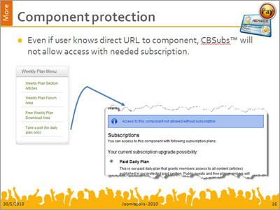 Protect any Joomla component (core or add-on) by requiring user to subscribe in order to use.