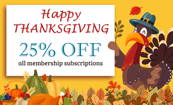 Happy Thanksgiving 2018 With 25 Off