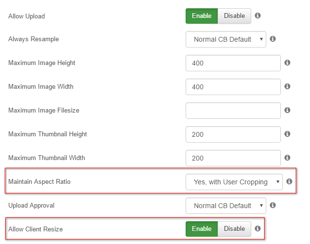 Client side image resizing and cropping