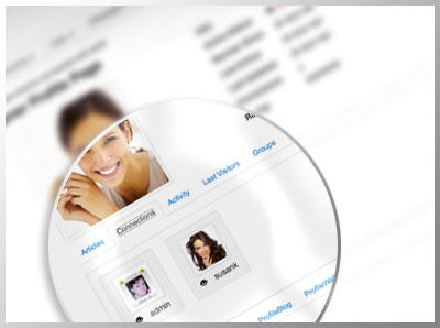 Users can manage their connections and get a profile gallery app to share their photos.